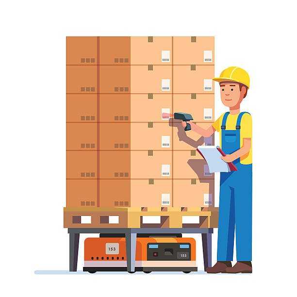 stockillustraties, clipart, cartoons en iconen met warehouse worker checking goods pallet - warehouse worker