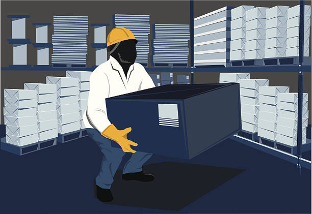 stockillustraties, clipart, cartoons en iconen met warehouse worker lifting box - warehouse worker