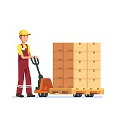 Warehouse worker man towing hand fork lifter
