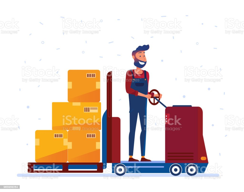 Warehouse worker moving boxes with electric forklift truck - Royalty-free Adult stock vector