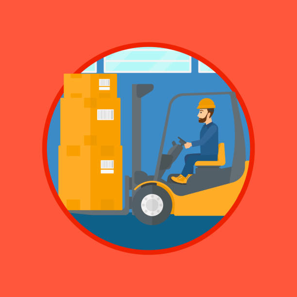stockillustraties, clipart, cartoons en iconen met warehouse worker moving load by forklift truck. - warehouse worker