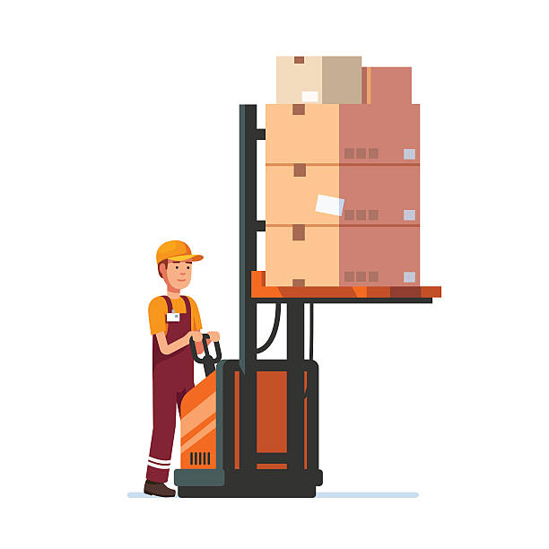stockillustraties, clipart, cartoons en iconen met warehouse worker operating electric fork lifter - warehouse worker