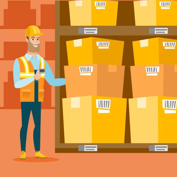 stockillustraties, clipart, cartoons en iconen met magazijn werknemer scanning barcode op vak - warenhuismedewerker