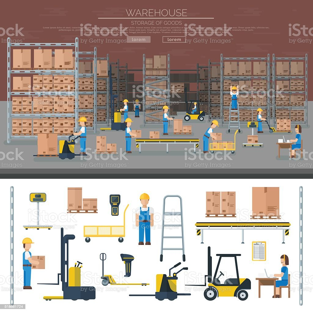 Warehouse worker taking package in shelf logistic industry flat vector vector art illustration