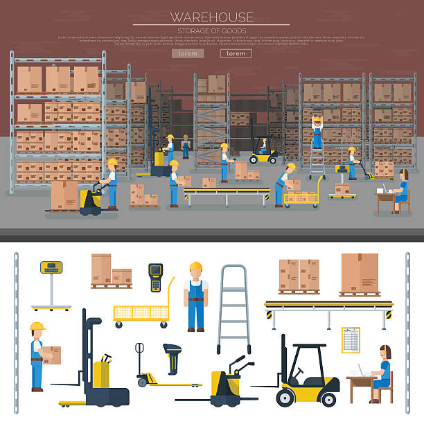 stockillustraties, clipart, cartoons en iconen met warehouse worker taking package in shelf logistic industry flat vector - warehouse worker