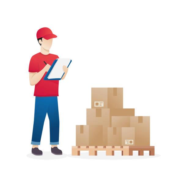 stockillustraties, clipart, cartoons en iconen met magazijn medewerker - warenhuismedewerker