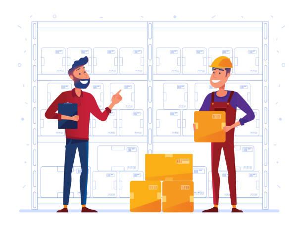 stockillustraties, clipart, cartoons en iconen met magazijn werknemers zijn het opslaan van vakken op het rek - warenhuismedewerker