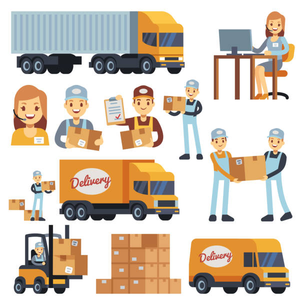stockillustraties, clipart, cartoons en iconen met magazijn werknemers vector stripfiguren - loader, levering man, courier en exploitant - warehouse worker