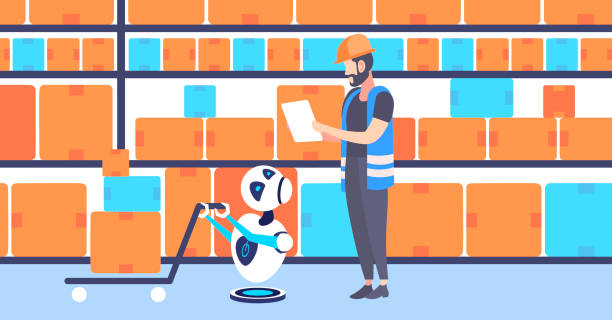 stockillustraties, clipart, cartoons en iconen met magazijn werknemers man in uniform met schattige koerier robot trekken kartonnen dozen op trolley hand truck kunstmatige intelligentieconcept moderne opslag interieur horizontale platte - warehouse worker