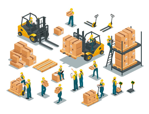 stockillustraties, clipart, cartoons en iconen met magazijnmedewerkers set 2 - warehouse worker