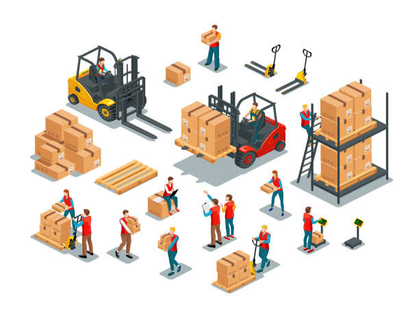 stockillustraties, clipart, cartoons en iconen met magazijnmedewerkers ingesteld - warehouse worker