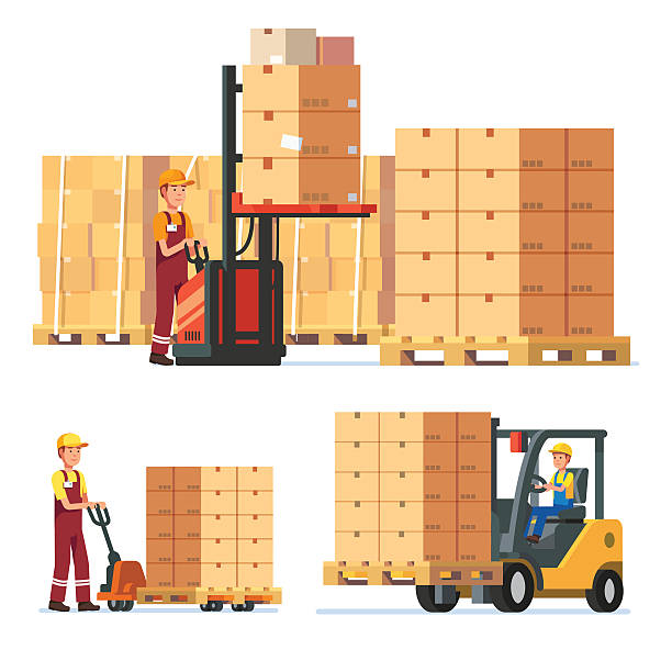 stockillustraties, clipart, cartoons en iconen met warehouse workers stacking goods with truck - warehouse worker