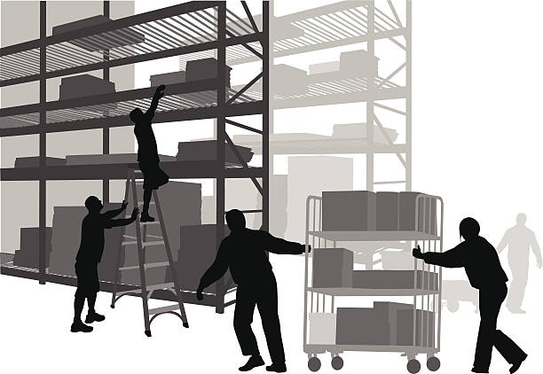 stockillustraties, clipart, cartoons en iconen met warehouse workers - warehouse worker