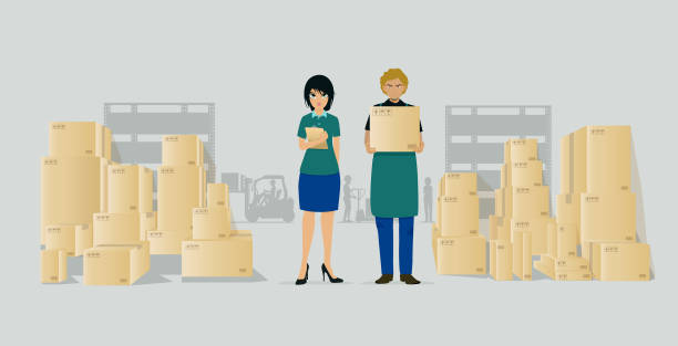 stockillustraties, clipart, cartoons en iconen met magazijn werknemers - warehouse worker