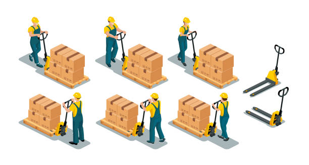 stockillustraties, clipart, cartoons en iconen met magazijnmedewerkers met manuele vorkheftruck set 2 - warehouse worker