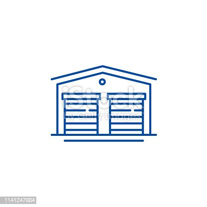 Warehouses line concept icon. Warehouses flat  vector website sign, outline symbol, illustration.