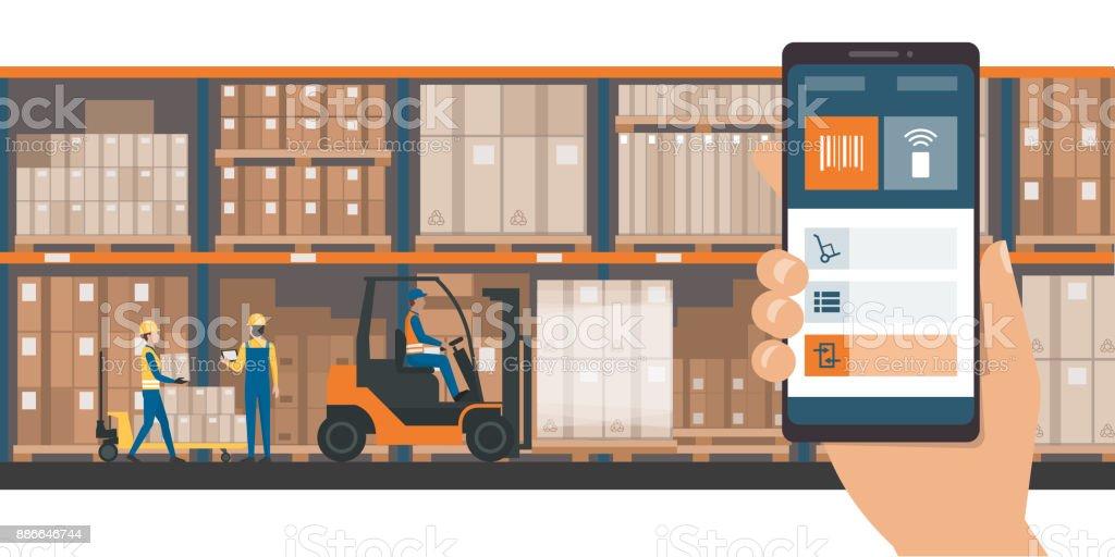 Warehousing and storage app vector art illustration