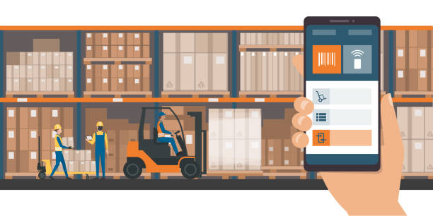 Warehousing and storage app vector art illustration