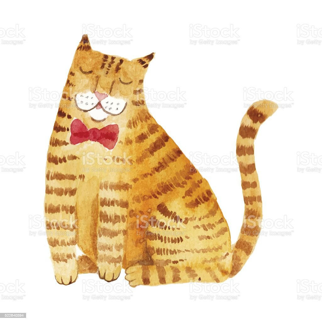 Warercolor ginger cat vector art illustration