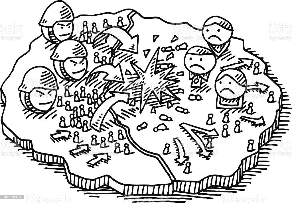 Soldado De Guerra Ataque Desenho De Mapa Arte Vetorial De Stock