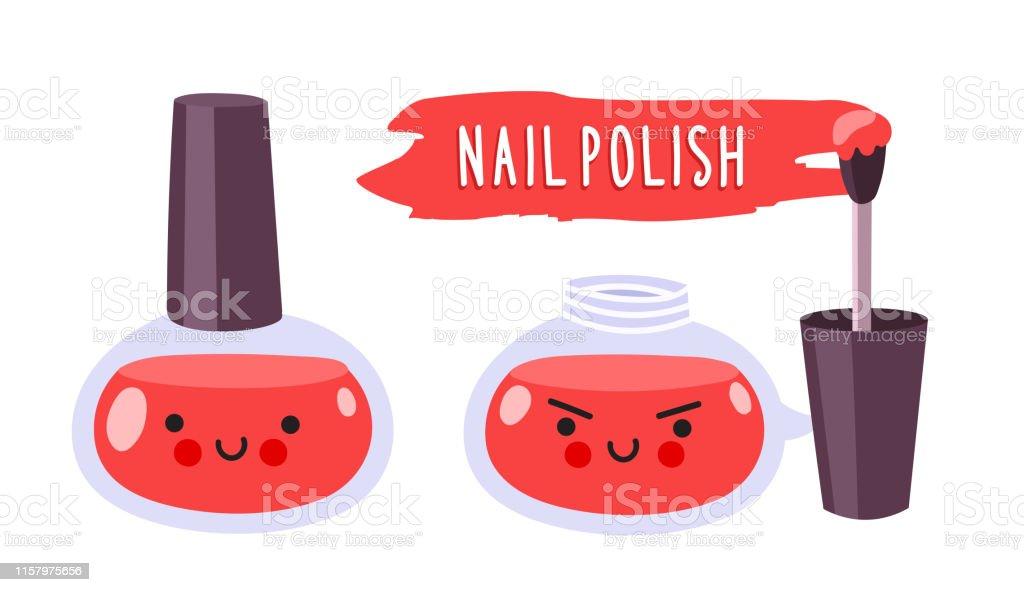 Warlike Red Nail Polish With Brush Cute Cartoon Doodle