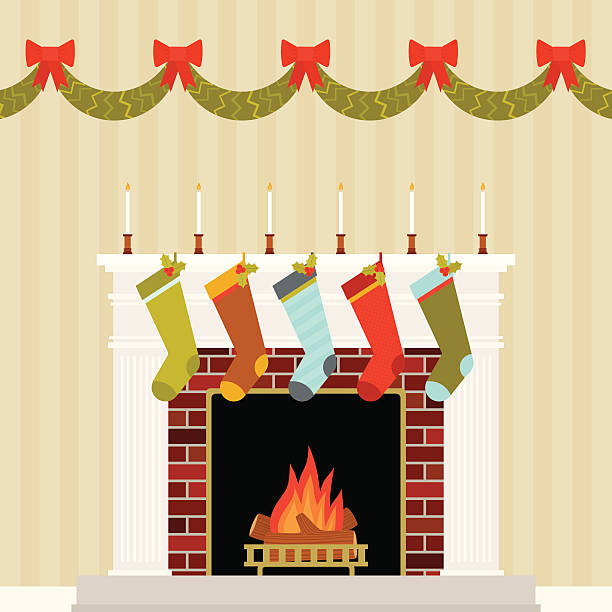 Warm and Festive Christmas Mantle A quaint fireplace mantle decorated for a family's holiday season that will be enjoyed from the comfort of their home together christmas stocking stock illustrations