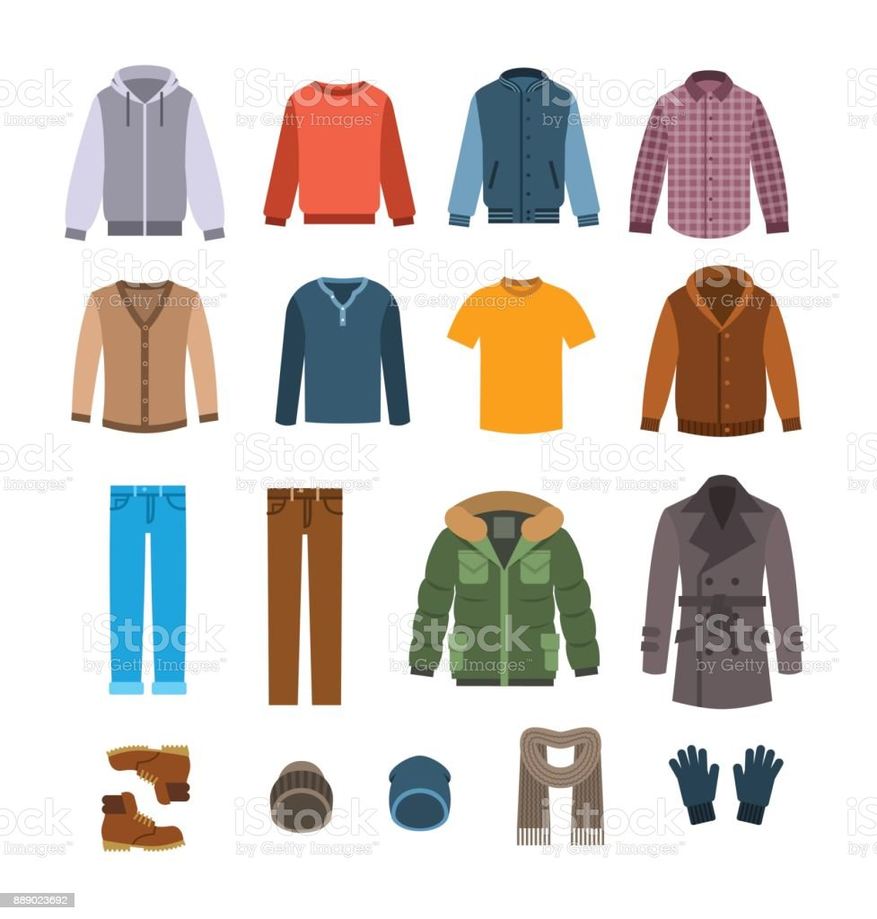 Warm casual clothes for men vector icons vector art illustration