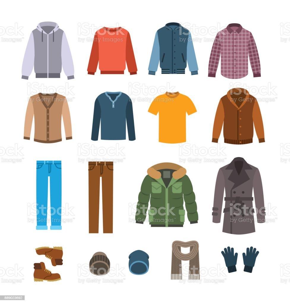 Caliente ropa casual para hombres vector iconos - ilustración de arte vectorial