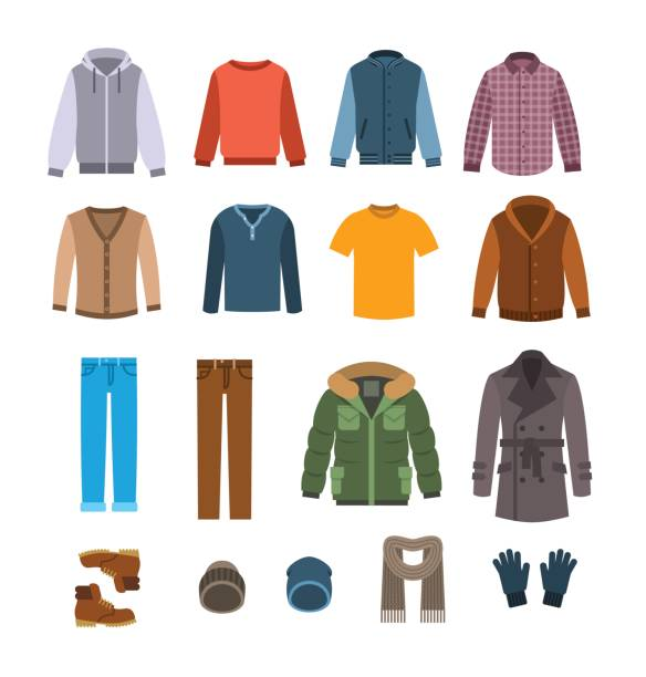 warm casual clothes for men vector icons - shoes fashion stock illustrations, clip art, cartoons, & icons
