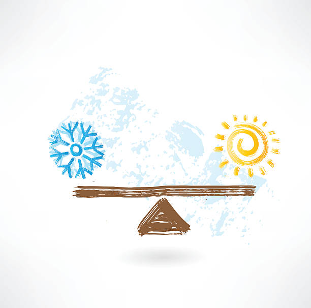 warm cold balance vector art illustration
