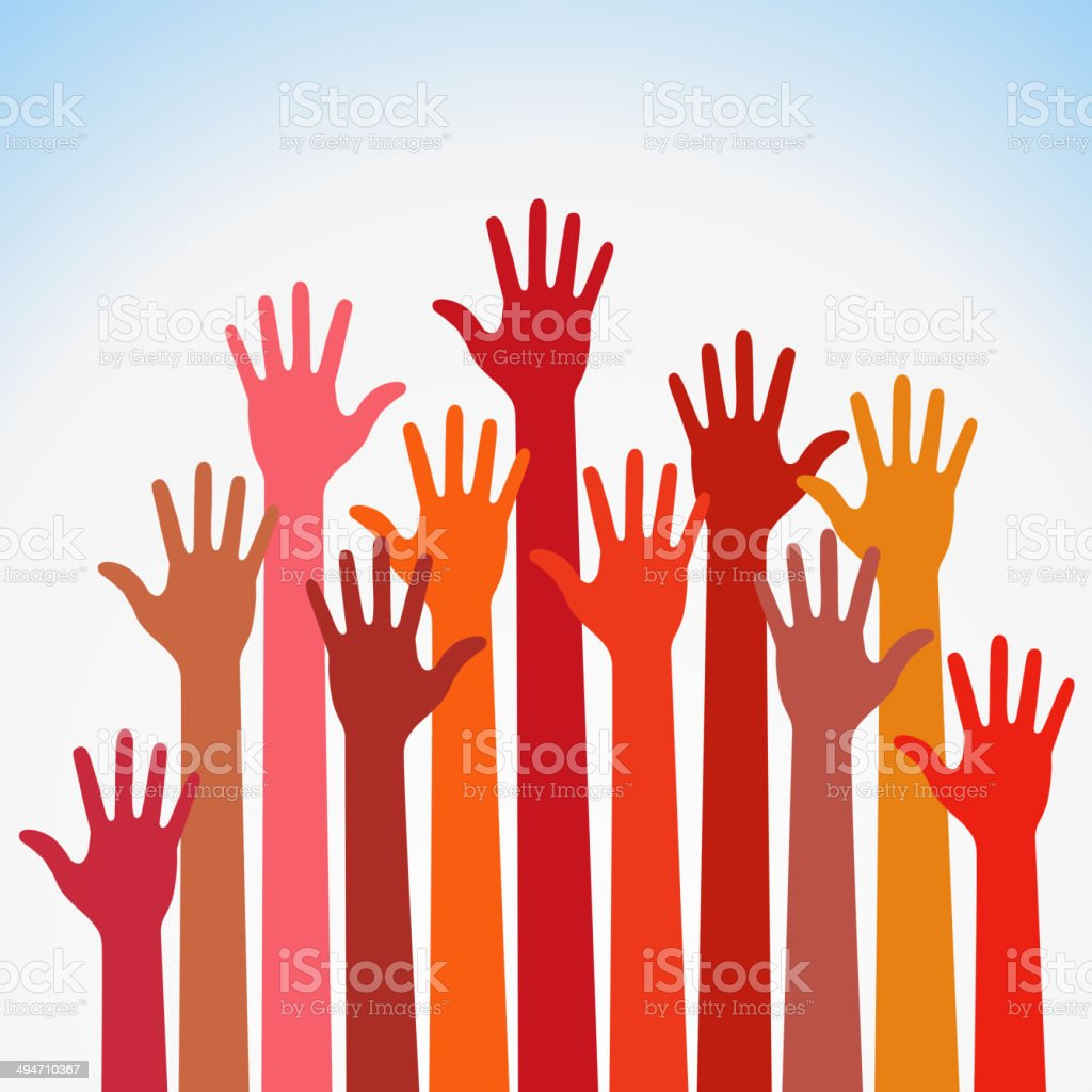 warm colorful up hands vector art illustration