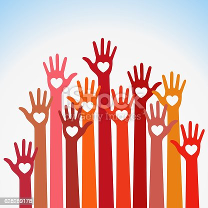 Warm colors colorful caring up hands hearts vector logo. Volunteers heart hands up vector emblem. Vector hands icon illustration. Education, Health Care, Medical, Volunteer, Vote Design Element