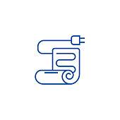 Warm floor,under floor heating line concept icon. Warm floor,under floor heating flat  vector website sign, outline symbol, illustration.