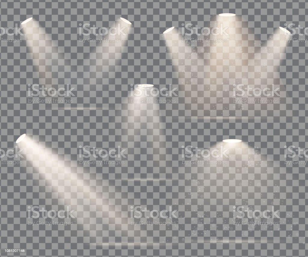warm light set of bulb on a transparent background - Royalty-free Abstrato arte vetorial