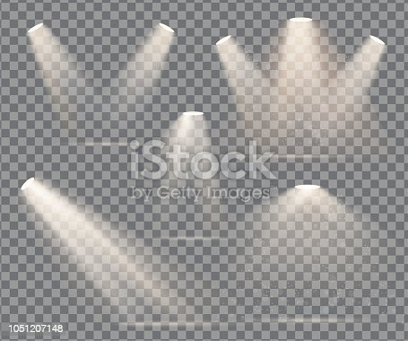 warm light set of bulb on a transparent background
