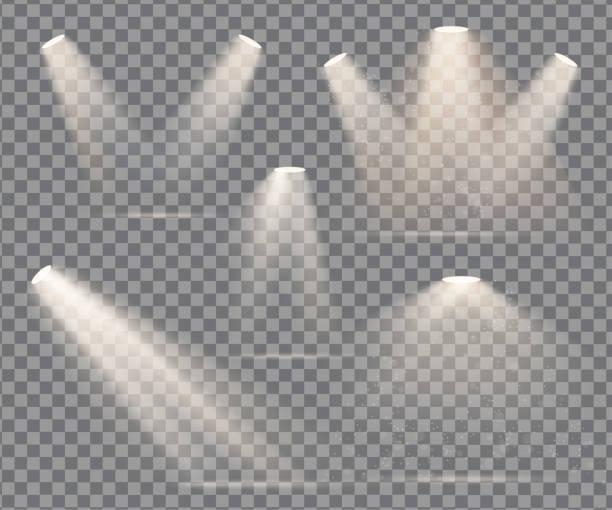 warm light set of bulb on a transparent background warm light set of bulb on a transparent background spot lit stock illustrations