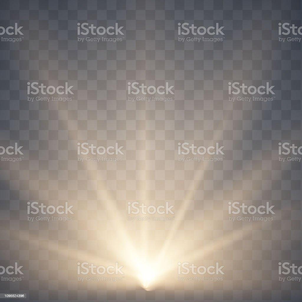 Warm light Sun rays, beams on transparent background. Glow rays of...