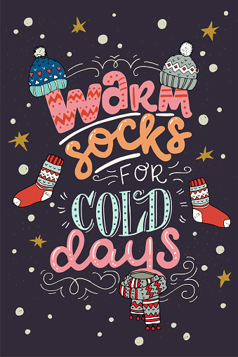 Warm Socks For Cold Days hand lettering card