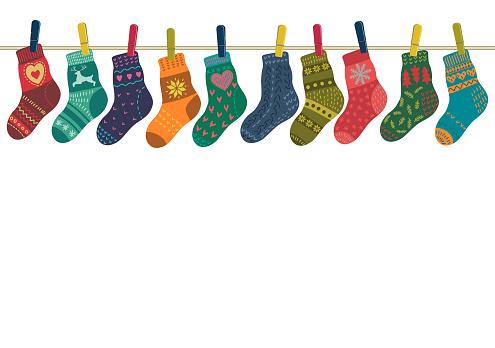 Warm socks set hang on the rope