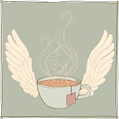 Hand drawn tea cup and wing.