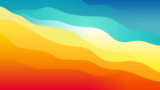 Warm to cool abstract layered wavy background