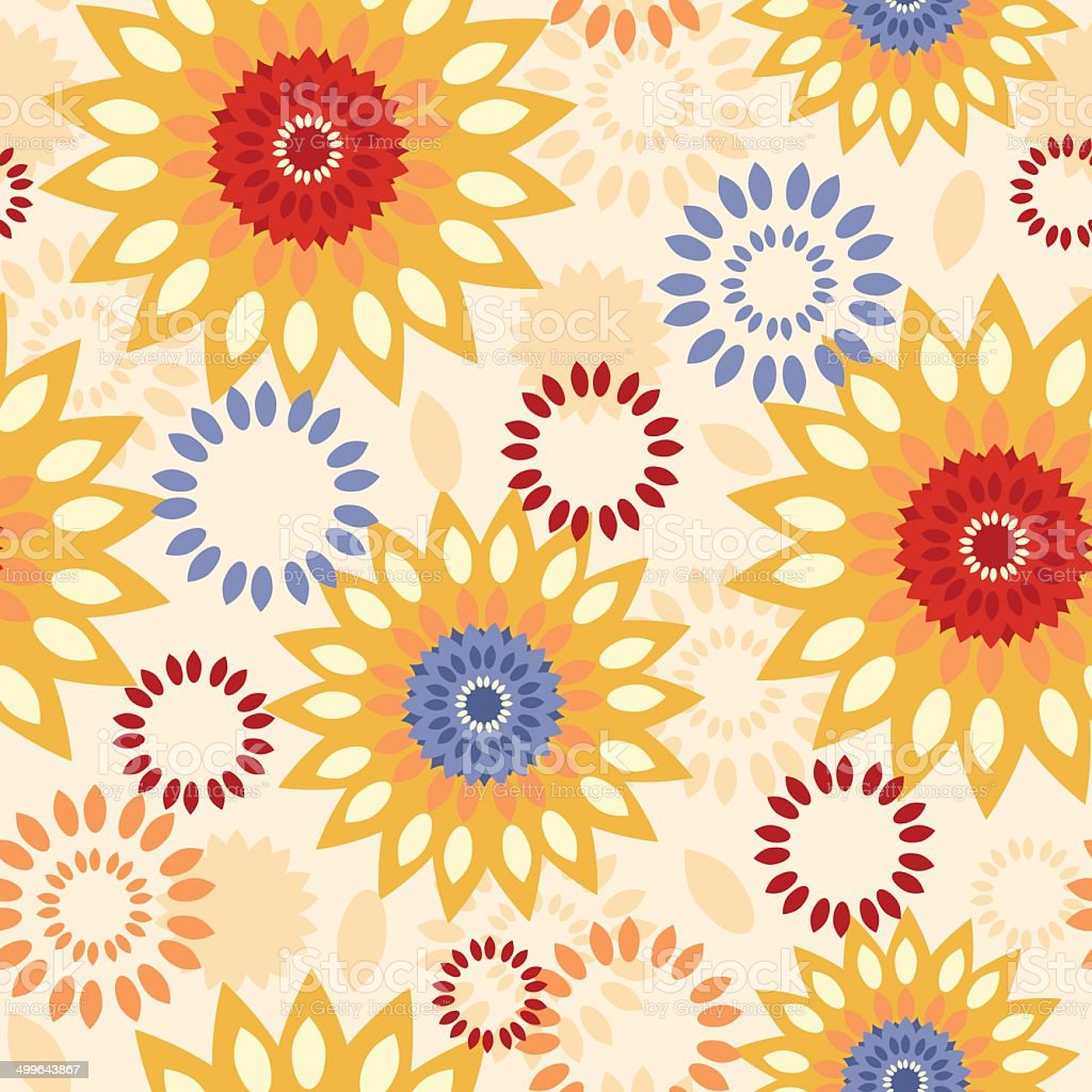 Warm vibrant floral abstract seamless pattern background royalty-free stock vector art