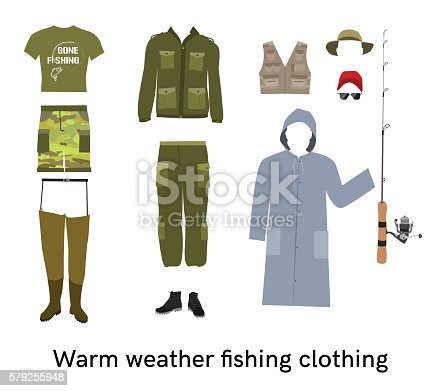 Warm weather fishing clothes flat vector set