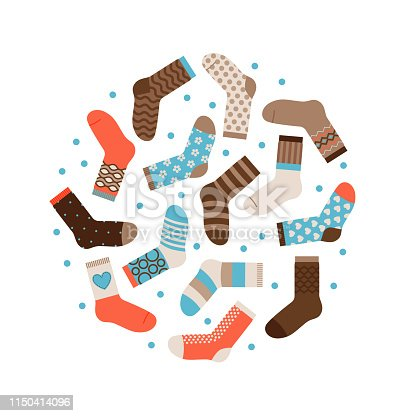 Warm winter socks round vector concept isolated. Illustration of sock male, garment apparel warm