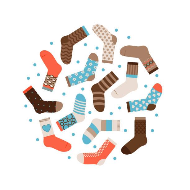 Warm winter socks round vector concept isolated vector art illustration