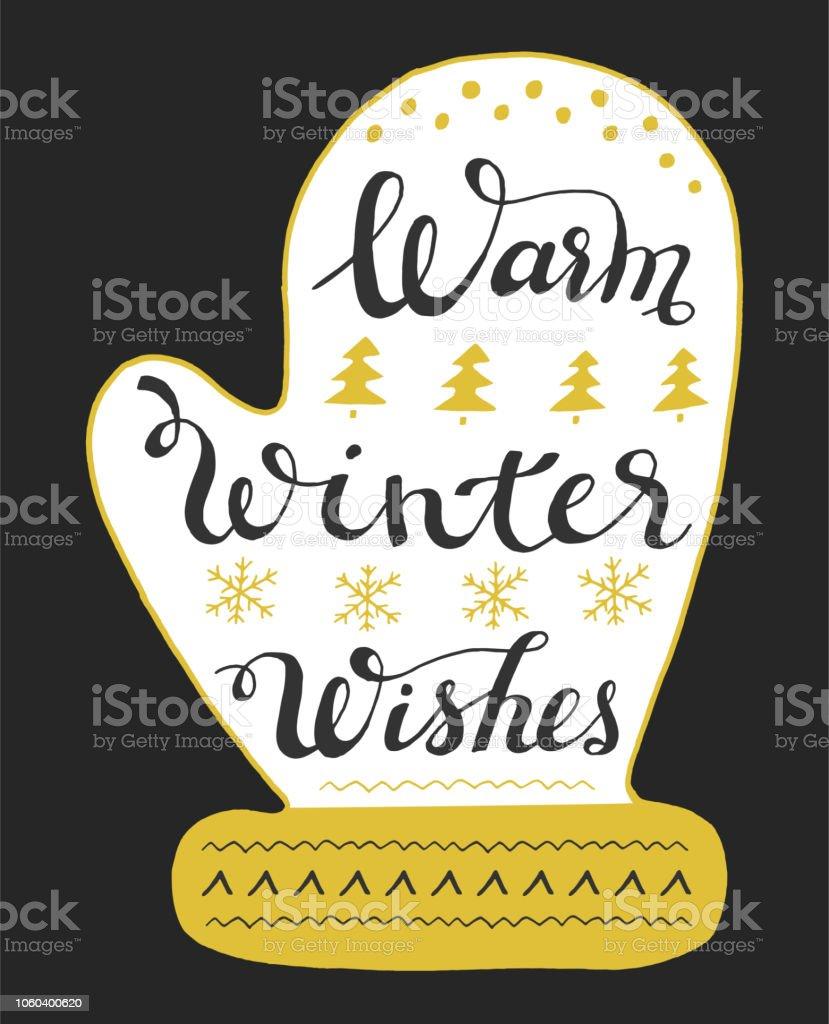 Warm winter wishes hand drawn lettering on mitten