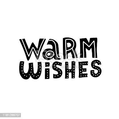 Warm wishes - doodle script calligraphic design for Xmas greetings cards, invitations. Handwritten calligraphy on white background