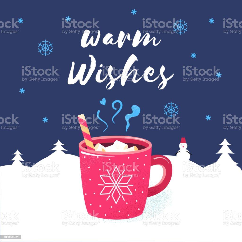 Grüße Frohe Weihnachten.Herzliche Grüße Frohe Weihnachten Winter Plakat Schokolade Stock