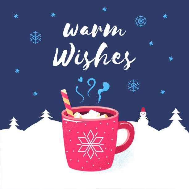Warm wishes merry christmas winter poster chocolate Warm wishes. Merry Christmas season poster. Winter holiday greeting card with red cup of hot chocolate or cocoa and candy. Flat cartoon design. Xmas vector illustration. hot chocolate stock illustrations