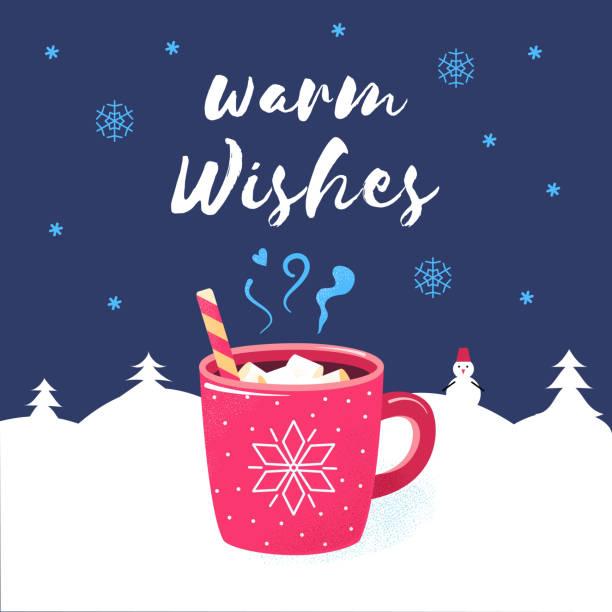 herzliche grüße frohe weihnachten winter plakat schokolade - weihnachtsschokolade stock-grafiken, -clipart, -cartoons und -symbole
